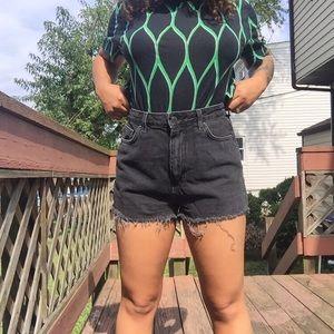High-Waited Denim Shorts